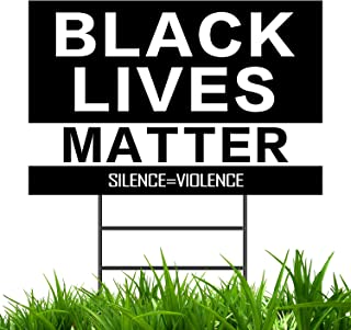 YUESUO Yard Sign - Black Lives Matter Yard Sign with Stakes, Plastic Weatherproof Anti Racism Lawn Sign with Metal Stake 18x12 Inch