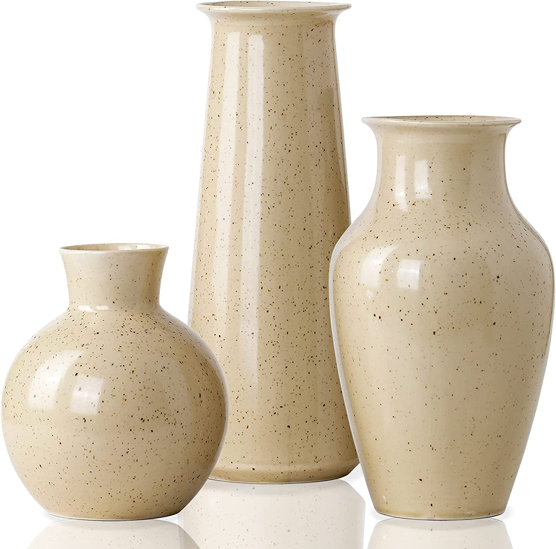 JDZMYF Modern Ceramic Vase for Decor Living Room Floor, Rustic Farmhouse Decor for The Home Small Flower Vases Decorative Shelf Decor Bud Boho 3 Piece Vase Set ( Light Yellow )