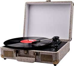 Vinyl Record Player, Portable Suitcase Turntables for Vinyl Records, Belt-Drive 3-Speed Vintage Lp Record Player