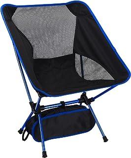 Hansiro Ultralichte campingstoel, inklapbare outdoorstoel, vissersstoel, strandstoel, compacte opvouwbare klapstoel met dr...