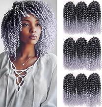 GX Beauty 9 Bundles/Lot Marlybob Crochet Curly Hair Braids 8 Inch Short Synthetic Twist Braiding Hair Ombre Gray Kanekalon...