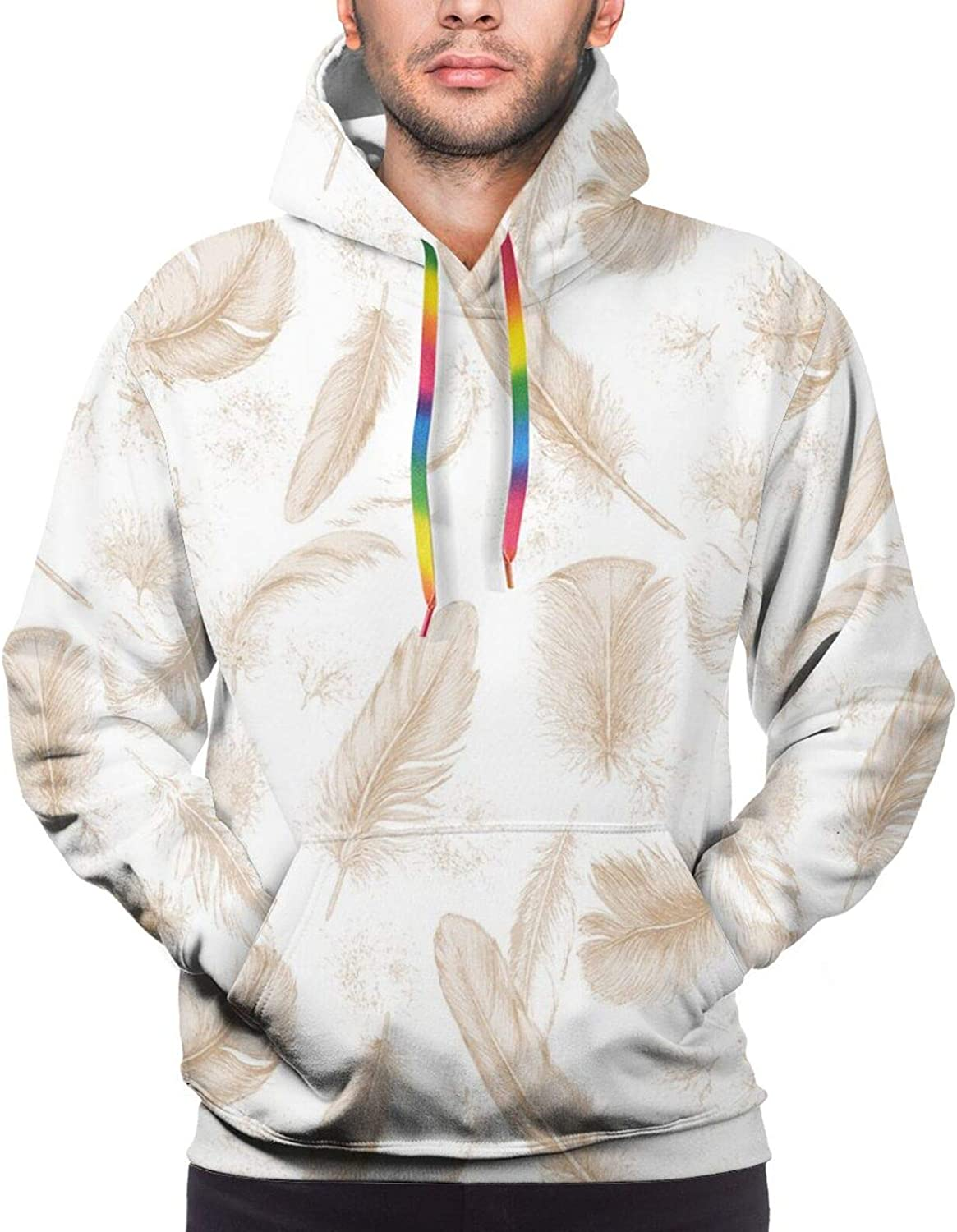 Men's Hoodies Sweatshirts,Fluffy Cloud Illustrations with Scribbles Up in The Sky