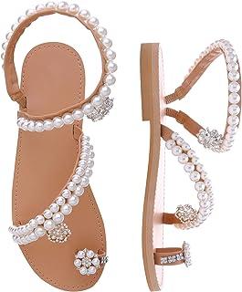 Women's Bohemia Bling Rhinestone Pearl Flat Gladiator Sandals Toe Ring Dress Shoes
