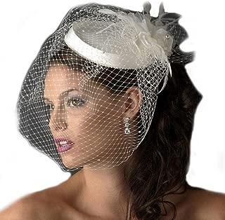 Women's Vintage Feather Fascinator Short Blusher Bridal Hat Net Bridcage Wedding Veil
