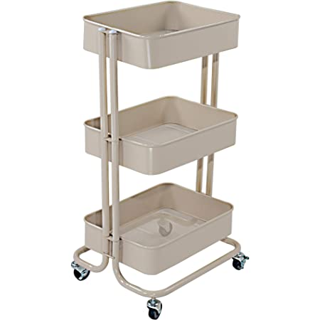 Black BATHWA 3-Tier Rolling Utility Cart Storage Shelves Multifunction Storage Trolley Service Cart with Mesh Basket Handles and Wheels Easy Assembly for Bathroom Kitchen Office