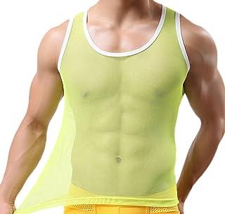 YiyiLai フィットネス タンクトップ メンズ トレーニング セクシー メッシュ ノースリーブ Tシャツ 薄手 シースルー