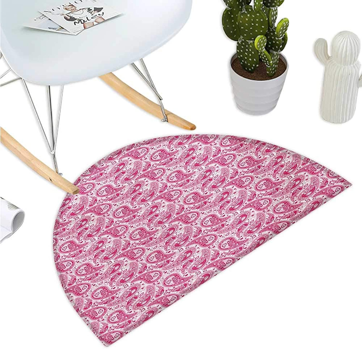Hippie Semicircular Cushion Abstract and Vintage Leaves Bohemian Oriental Sacred Motif in Pink Shades Entry Door Mat H 39.3  xD 59  Magenta and White