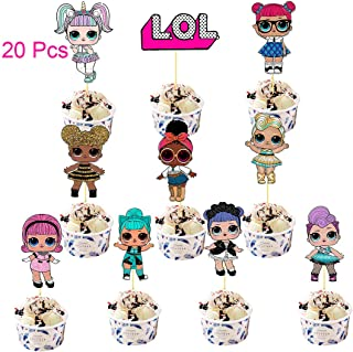 20 Pcs LOL Cake Topper,LOL Happy Birthday Party Supplies Cupcake Topper,Pink Cake Decorations for Bday Theme Party