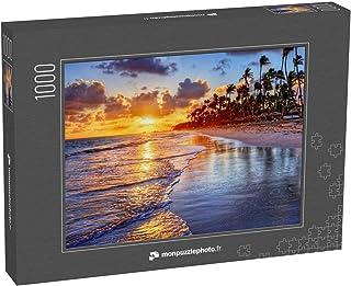 monpuzzlephoto Puzzle 1000 pièces Brillant Lever de Soleil sur la Plage de l'océan avec des Palmiers - Puzzles Classiques ...