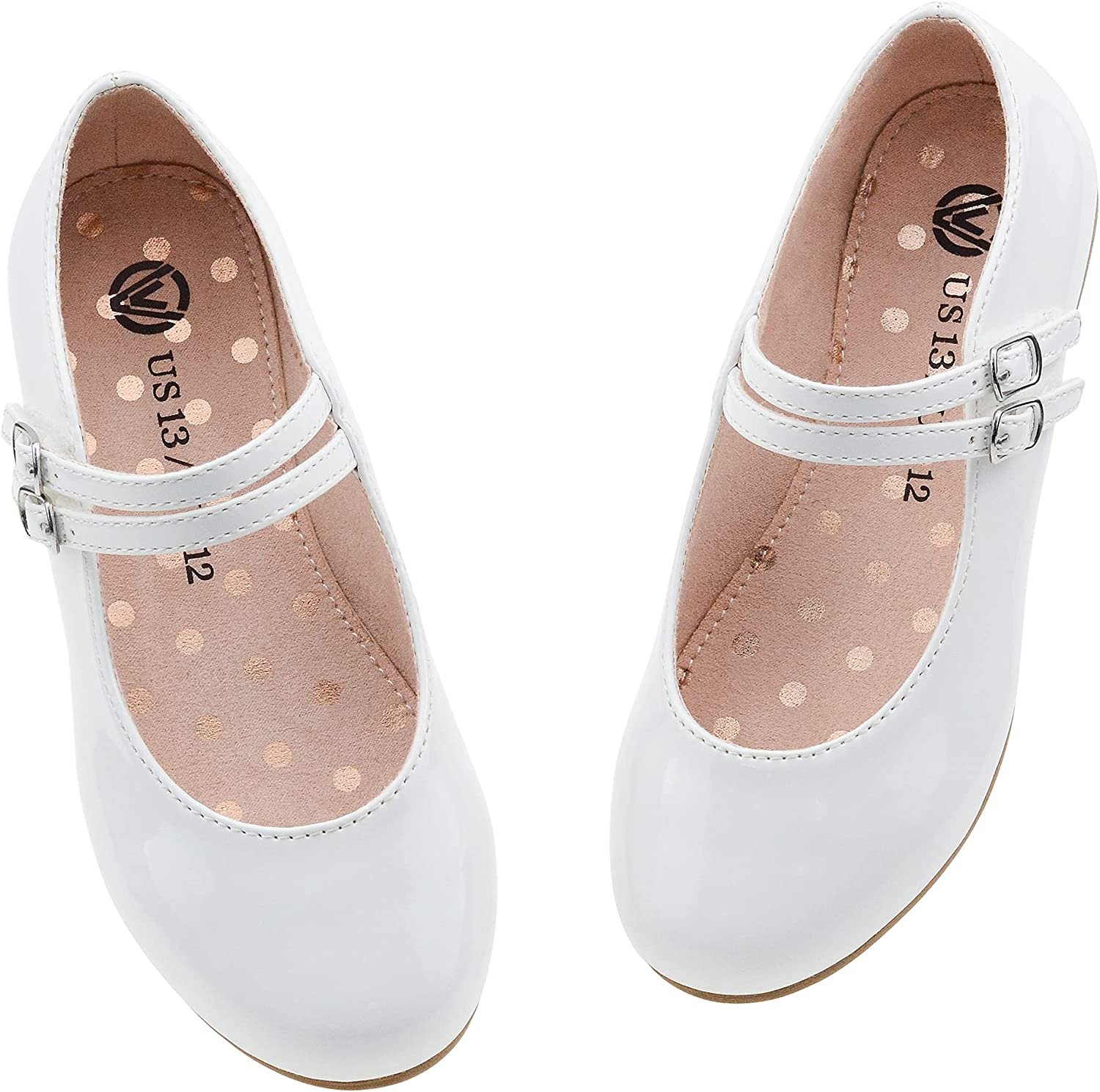 LseLom Girls Dress Shoes Low Heel Mary Jane Princess Hook and Loop Dance Shoes Party Wedding Flats for Little/Big Kids