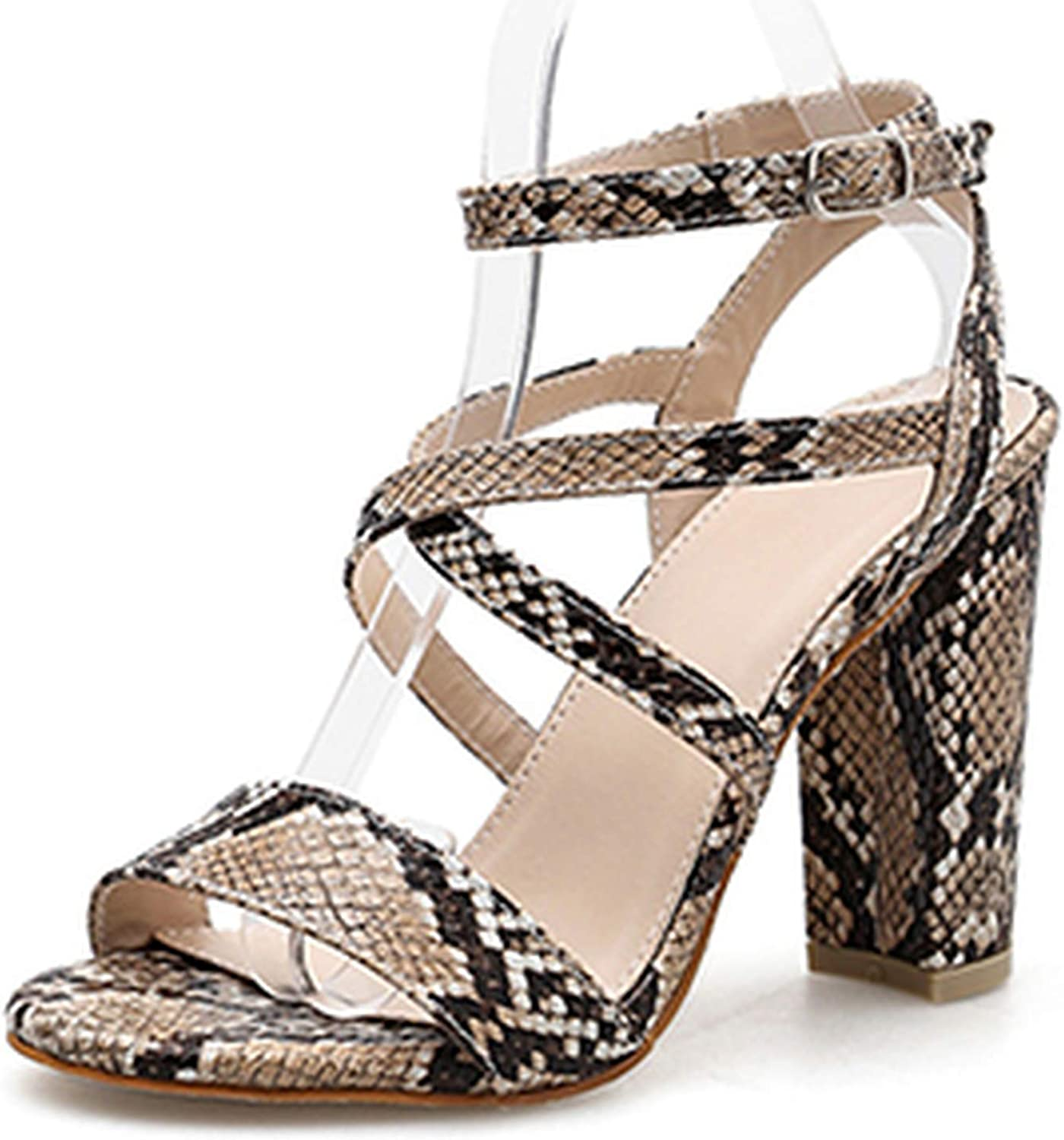 Ches Print Serpentine Gladiator Summer Sandals Buckle Strap Rome Square High Heel 11CM Fashion Ladies Sandals shoes
