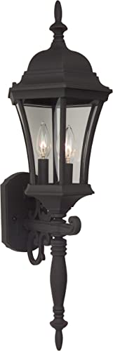 """new arrival Craftmade Z340-TB sale Curved Glass lowest Outdoor Wall Mount Sconce Lighting, 3-Light, 180 Watts, Textured Matte Black (10""""W x 25""""H) online sale"""