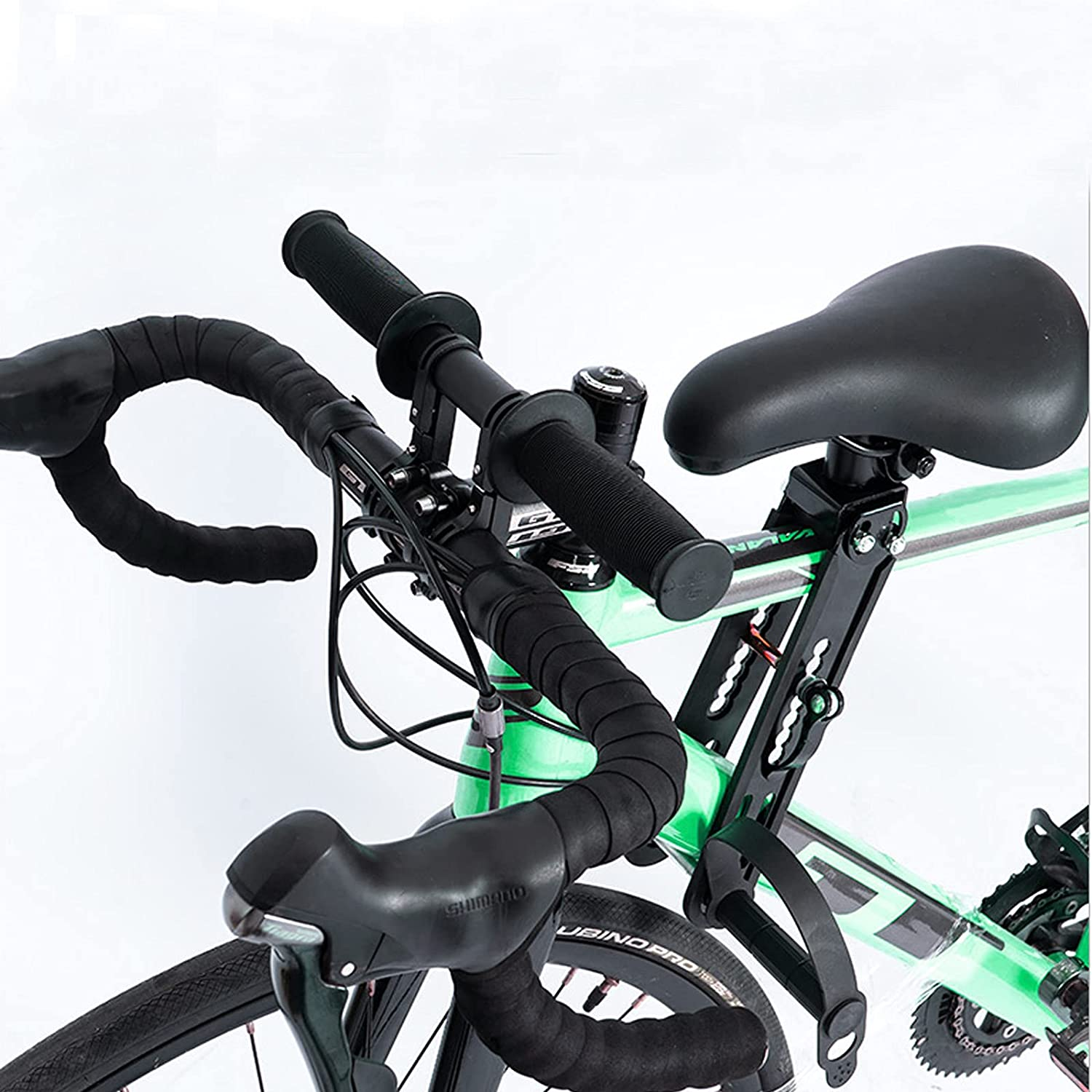 Peedeu Kids Bike Seat and Handlebar Accessories Combo Pack, Front Mounted Bicycle Seats with The Foot Pedals for Children Aged 2~5 Years (up to 48 Pound), Compatible with All Adult Mountain Bikes