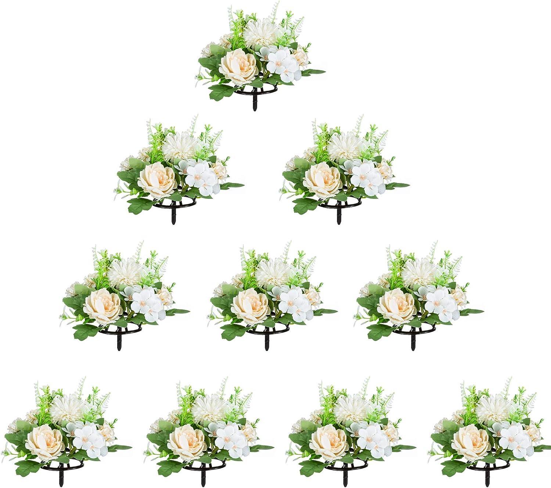 NUPTIO 10 Pcs Artificial Fake Flowers Plastic Flower Arrangements for Wedding Table Centerpieces Decoration, Artificial Flower Bouquet for Mother's Day Party Baby Shower Decor(Champagne & White)