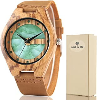 Wood Watch Japanese Quartz Movement Natural Sandalwood Wooden Wristwatches Genuine lightweight Leather Strap Casual Wooden Watch with Gift BOX