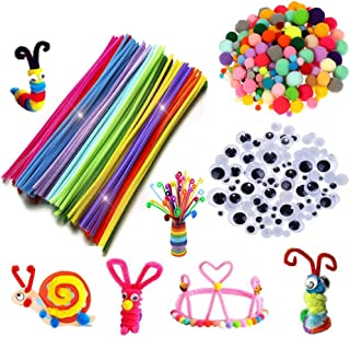 Tukcherry Craft Pompons Multicolores Rondes Fils Chenille Enfant Artisanat Fabrication Loisirs Fournitures DIY Creative Dé...