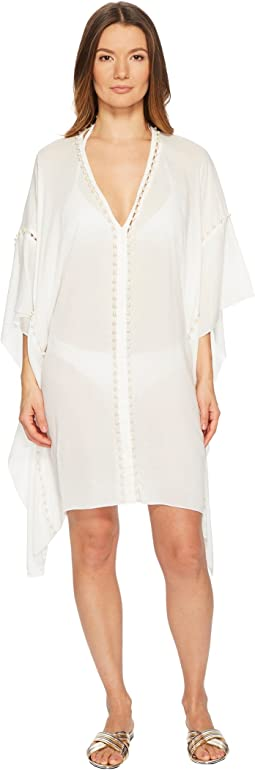 Crepe Studded V-Neck Caftan Cover-Up