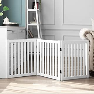WELLAND Wooden Freestanding Pet Gate, 24 Inch 3 Panel Step Over Fence, Expands Up to 60