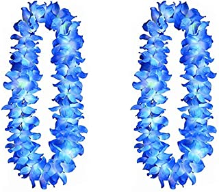 blue and yellow flower leis