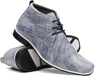 Sapato Social Textura Jeans Cano Médio