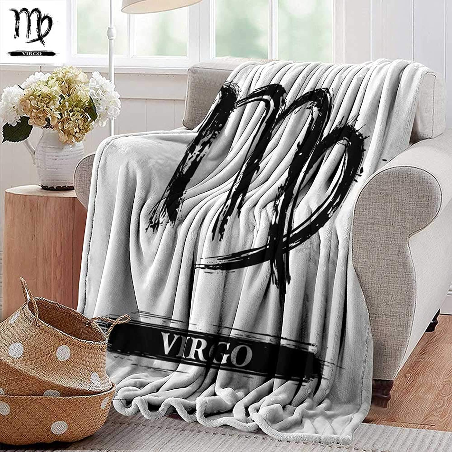 Weighted Blanket for Kids,Virgo,Virgo Sign with Black and White Monochrome Design Zodiac Symbol Constellation Print,Black White,Weighted Blanket for Adults Kids, Better Deeper Sleep 50 x60