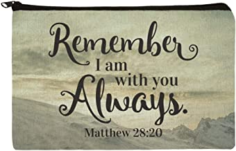 Remember I Am With You Always Matthew 28:20 Snowy Mountain Makeup Cosmetic Bag Organizer Pouch