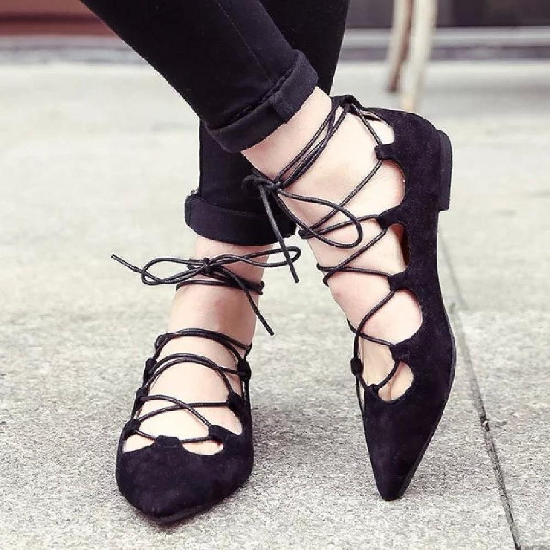 MEIREN Pointy flat shoes women in Europe and America cross lace leggings women's shoes