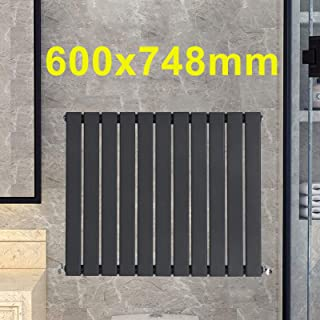 Radiador moderno vertical de 600 x 748 mm, color gris antracita, horizontal, de panel plano, calentador de radiador, ahorro de espacio para baños, cocina, pasillo, sala de estar