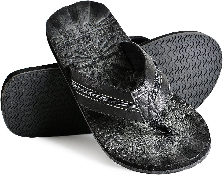 RockDove Men's Vieja Havana Faux Leather Flip Flop
