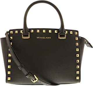 da676651a98832 Michael Kors Women's Selma Stud Medium Top Zip Leather Satchel Top-Handle  Bag