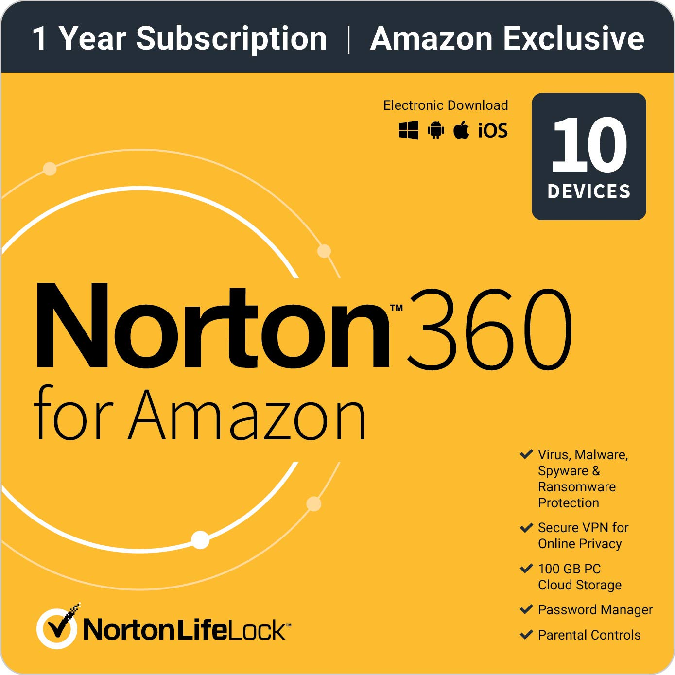 Norton 360 for Amazon  Antivirus software for up to 10 Devices with Auto Renewal