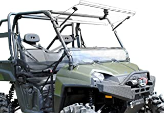 SuperATV Heavy Duty Scratch Resistant 3-IN-1 Flip Windshield for Polaris Ranger Full Size XP 800 / Crew 800/800 6x6 (2010-2016) - Hard Coated For Long Life and Extreme Durability!