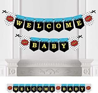 Big Dot of Happiness Bam Superhero - Baby Shower Bunting Banner - Comic Book Party Decorations - Welcome Baby