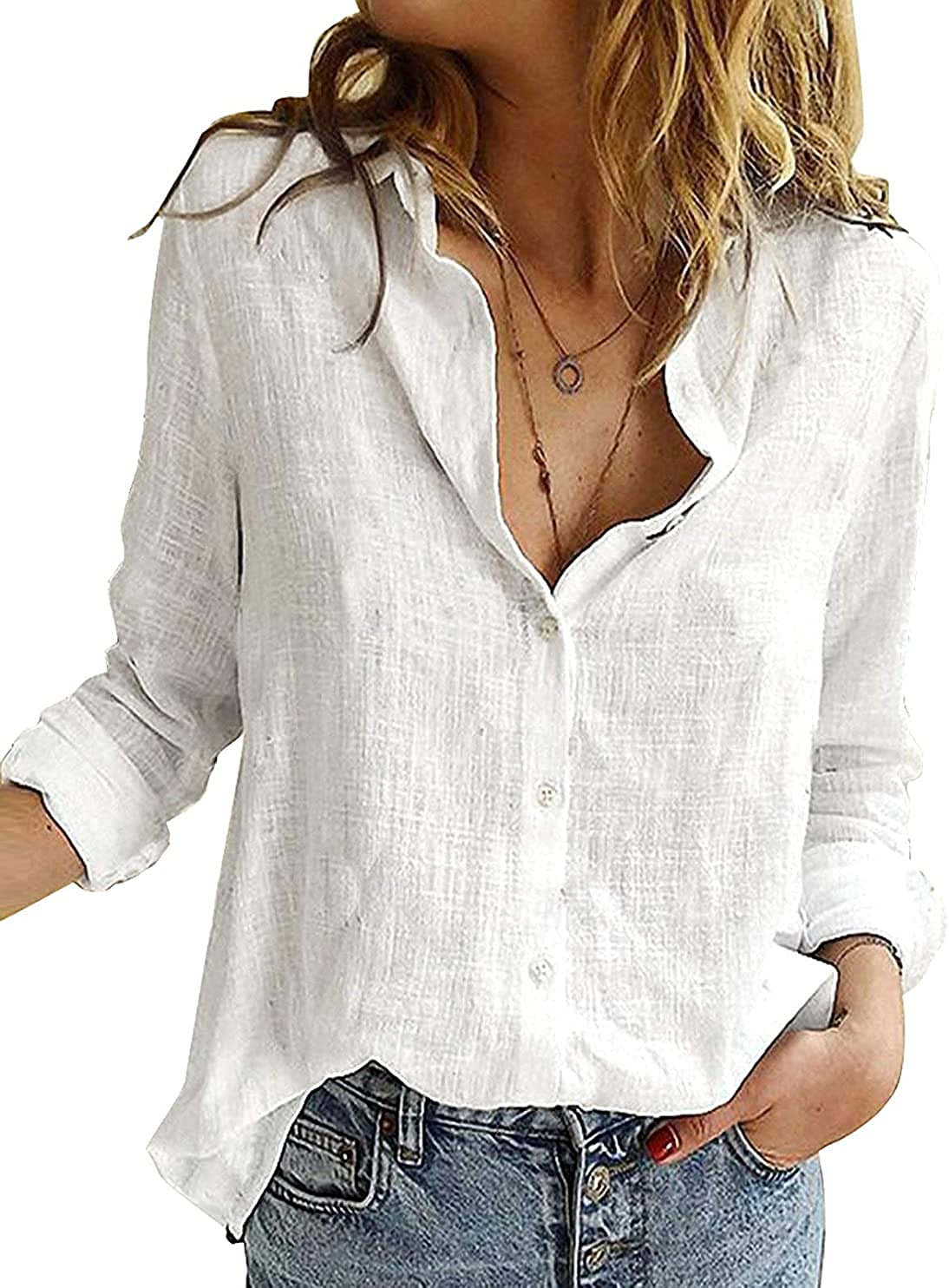 ZATODAY Women's Button Down Blouse Shirts Long Sleeve V Neck Casual Work Tunic Tops