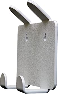 TrippNT 50094 White ABS Plastic Double Apron and Lab Coat Hook with Tape 2 Position 7.5 Width x 6.5 Height x 2.3 Depth 7.5 Width x 6.5 Height x 2.3 Depth