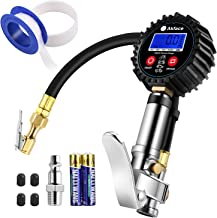Akface Digital Tire Inflator Gauge,Compressor Accessories with Led display,Rubber Hose,Brass Air Chuck,Heavy Duty Steel Trigger,1/4