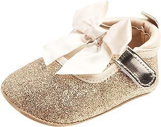 Baosity Newborn Baby Girls Bling Crib Pram First Walkers Bowknot Princess Shoes - Golden, 6-12 Months