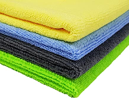 SOFTSPUN Microfiber Cleaning Cloth (Pack of 4) 40 cm x 40 cm, 340GSM,(Multicolor)