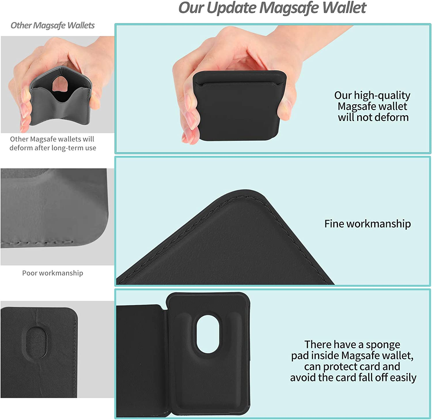 FRESHCLOUD Magnetic MagSafe Wallet Leather MagSafe Card Holder for Back of Phone Compatible with iPhone 12 12 Pro 12 Pro MAX 12 Mini Black