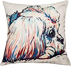 FLY SPRAY Throw Pillow Covers Cartoon Square Decorative Cute Lying Shih Tzu Dog Colorful Cotton Linen Pillowcase Dogs Pattern Sofa Cushion Cover 18 x 18