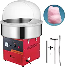 VBENLEM Electric Candy Floss Maker With Bubble Cover Shield 20.5 Inch Cotton Candy Machine 1030W for Various Parties (Red)