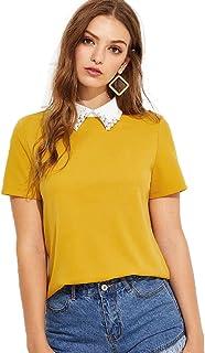 Romwe Women's Cute Contrast Collar Short Sleeve Casual Work Blouse Tops
