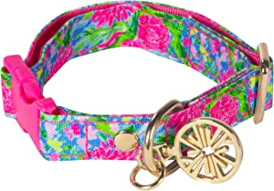 Lilly Pulitzer Adjustable Dog Collar, Cute Heavy Duty Canvas Collar with Snap Closure and Ring for Leash/Tag, Bunny Business