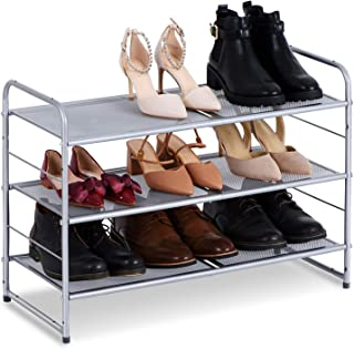 Bextsware Stackable Metal Mesh Utility Shoe Rack Organizer, Expandable Shoe Shelf Storage for Cabinet Closet Bedroom Entryway, Fits Boot, High Heel, Slipper, Sneaker, Sandal, Flats