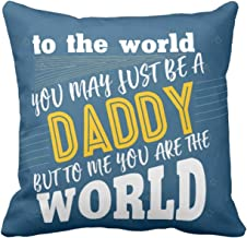 YaYa cafe Daddy You are My World Canvas Cotton Cushion Cover (12X12-Inches, Blue)