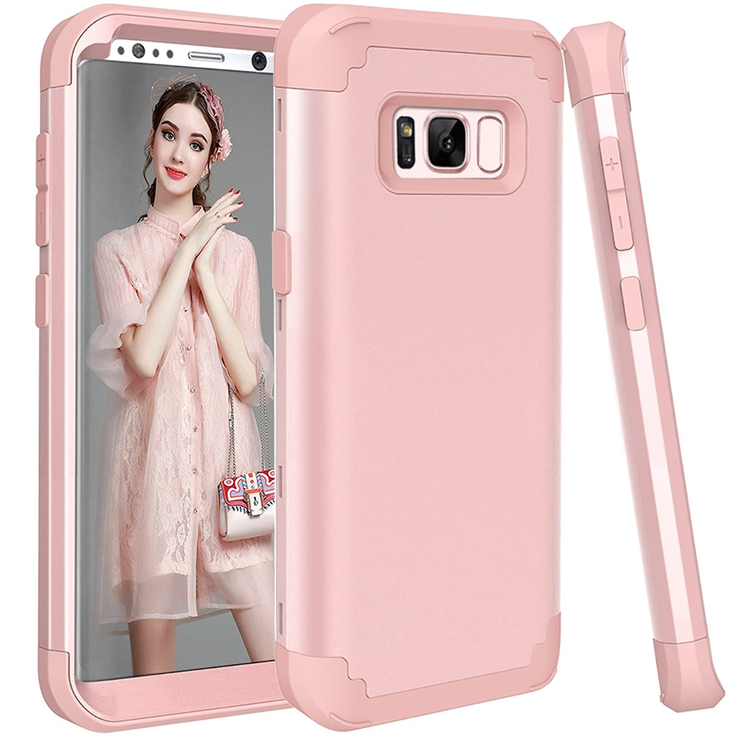 Galaxy S8 Plus Case, MCUK [Shock Absorption] 3 in 1 Drop Protection High Impact Hybrid Armor Defender Silicone Rubber Skin Hard Case Cover For Samsung Galaxy S8 Plus / S8+ (2017) (Rose Gold)
