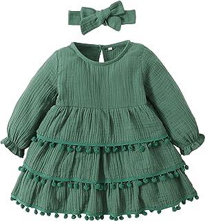 Sponsored Ad - Maacie Little Baby Girl Long Sleeve Fall Dress Comfy Cotton Dress with Headband