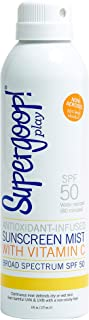Supergoop! PLAY SPF 50 Antioxidant-Infused Body Mist w/Vitamin C, 6 fl oz - Broad Spectrum Sunscreen Spray - Full Coverage Body Sunscreen for Sensitive Skin - Athlete-Trusted, Great for Active Days