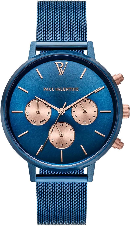 PAUL VALENTINE ® Reloj Multifunctional para Mujer de Acero Inoxidable, 38 mm, Mecanismo de Cuarzo japonés, A Prueba de Salpicaduras, Reloj Pulsera para Mujer