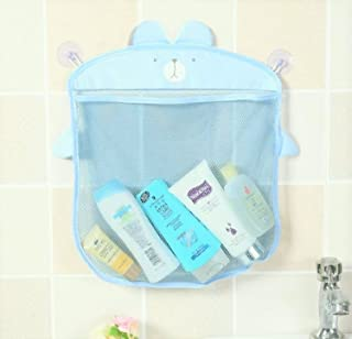 【ぴぴっと】 お風呂 おもちゃ すっきり収納 子供 アニマル 吸盤 壁掛け 水切りネット (ブルー)